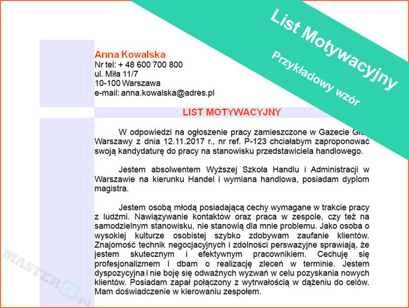 Wzór Listu Motywacyjnego Specjalista ds. Dostaw