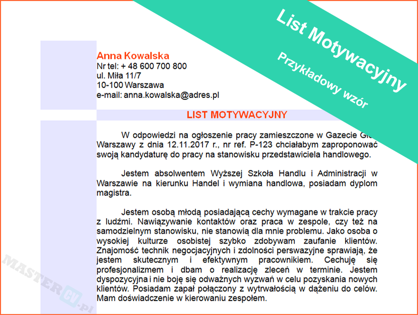 Wzór Listu Motywacyjnego Politolog