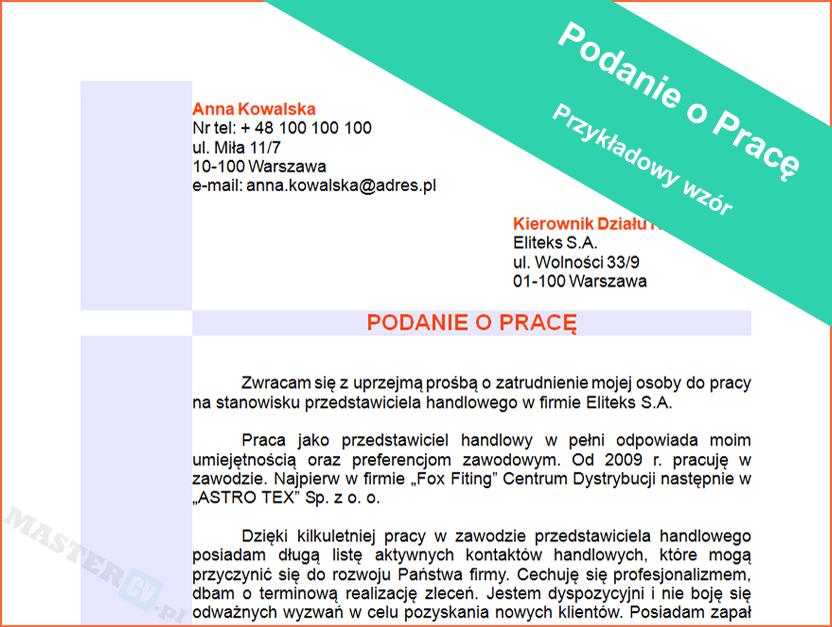 Wzór Podania o Pracę Robotnik Drogowy